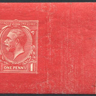 1912 1d Die Proof in scarlet from Stage 5, uncleared on white gummed