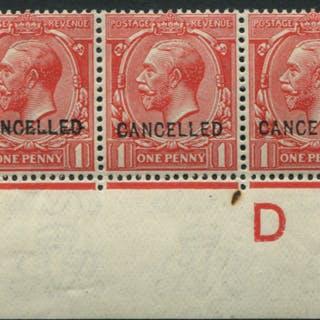 1912 1d scarlet, optd CANCELLED Type 24, corner marginal D14 Control