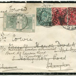 1903 mourning envelope from Edinburgh to Shanghai, franked 1902 ½d