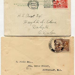 1924 Wembley Exhibition set on two covers, both used on the 1st day