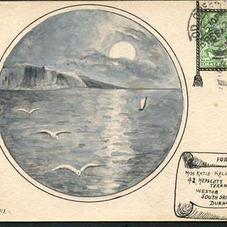 1913 hand made card from Wood Green to South Shields, franked ½d KGV defin