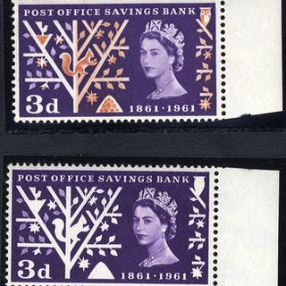 1961 P.O.S.B 3d with ORANGE BROWN OMITTED, marginal UM