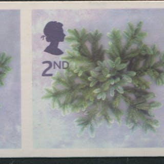 2002 Christmas self-adhesive 2nd blue Spruce Star IMPERF strip of 3