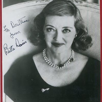 DAVIS, BETTE 1908-89 (American actress) black & white photograph dedicated