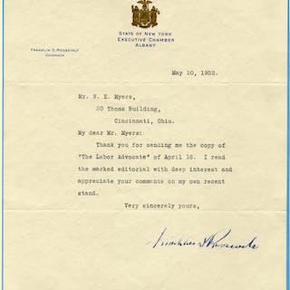 ROOSEVELT, FRANKLIN D 1882-1945 (American President 1933-45) typed