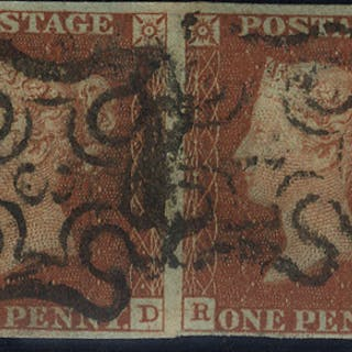 1841 1d red Plate 34 RD/RE (pair) - No. 3 in Maltese Cross