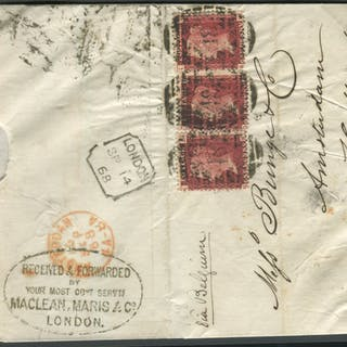 1868 cover to Holland via Belgium, franked 1d red Pl.108 x3