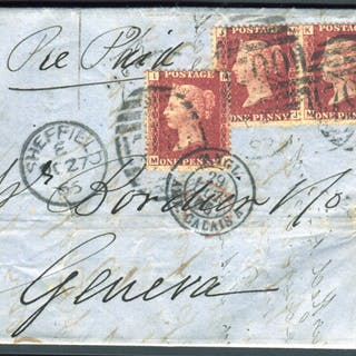 1866 cover from Sheffield to Geneva, superb letter head within for