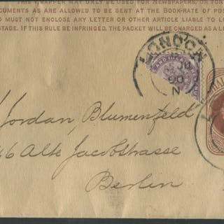 1900 ½d Newspaper wrapper to Germany uprated with a bisect of a 1d lilac