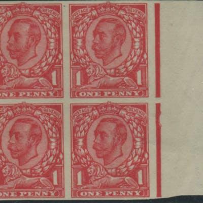 1912 1d scarlet (Die 2 Paper Trial) Imperforate block of four