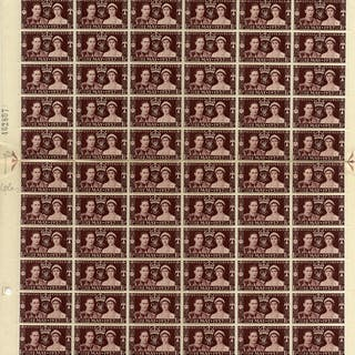 1937 Coronation complete sheet (Cylinder 7 No Dot) incl. varieties