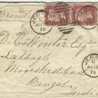 1875 cover from Jersey to Murshidabad, Bengal, India