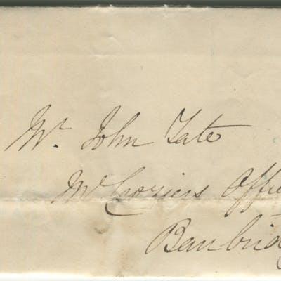 1843 cover from Dublin to Banbridge - franked 1841 1d red Plate 36 lett KI