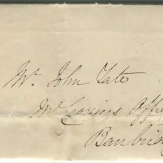 1843 cover from Dublin to Banbridge - franked 1841 1d red Plate 36 lett KI