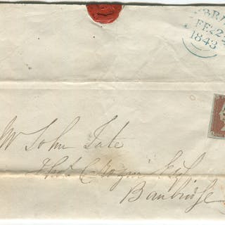 1843 cover from Dublin to Banbridge - franked 1841 1d red Plate 24 lett LE