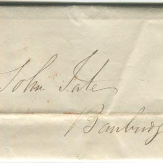 1843 cover from Dublin to Banbridge - franked 1841 1d red Plate 28 lett JG