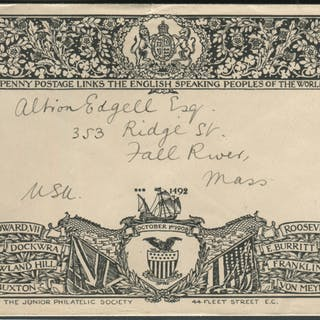 1908 Oct 1st Junior Philatelic Society illustrated envelope