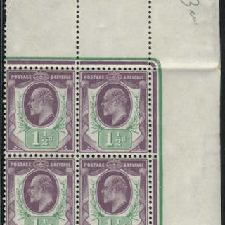 1902 DLR 1½d slate-purple & bluish green (chalky paper) M block of four