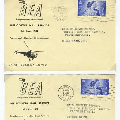 1948 British European Airways Helicopter first flight covers (2)