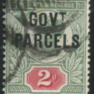 GOVT PARCELS 1891 2d grey-green & carmine with ovpt variety