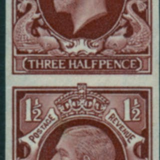 1934 Photogravure 1½d red brown (IMPERFORATE THREE SIDES) vertical pair