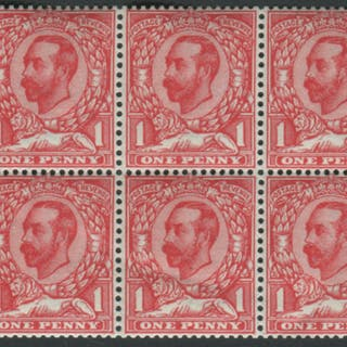 1911 1d booklet pane of six WMK INVERTED