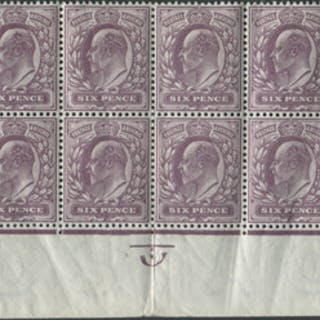 1911 Somerset House 6d reddish purple - bottom two rows of the sheet