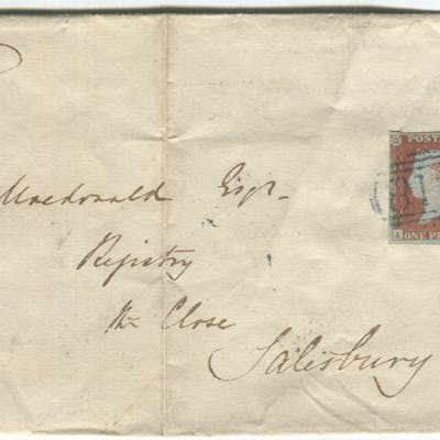 1850 cover from Kingsbridge to Salisbury, franked 1841 1d Pl.88 horizontal