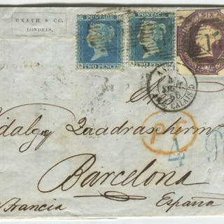 1856 cover from London to Barcelona via France, franked 6d Embossed & 2d Stars