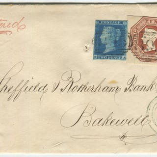 1853 registered cover from Wirksworth to Bakewell, franked 1841 2d