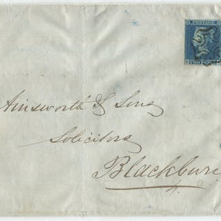 1841 2d blue Plate 3 single stamp BA & SB-SC, tied by black Maltese