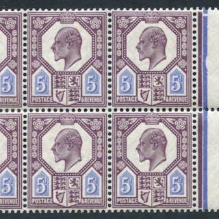 1911-13 5d deep dull reddish purple & bright blue, marginal, UM block
