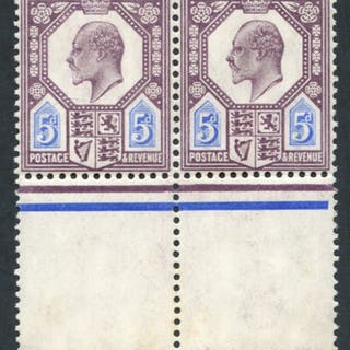 1906 5d slate-purple & ultramarine, UM pair, SG.244