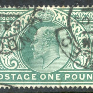 1902 £1 dull blue green, two London E.C hooded c.d.s's, SG.266