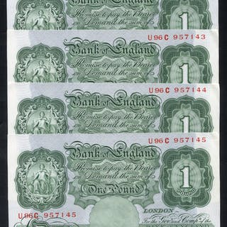 1950 Beale £1 green, consecutive run of four, a/UNC, Dugg B268