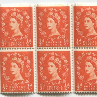 1958 Graphite ½d booklet pane of six