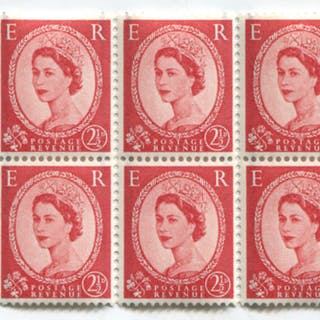 1958 Graphite 2½d booklet pane of six