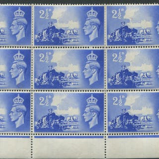 1948 Liberation 2½d ultramarine block of nine, UM