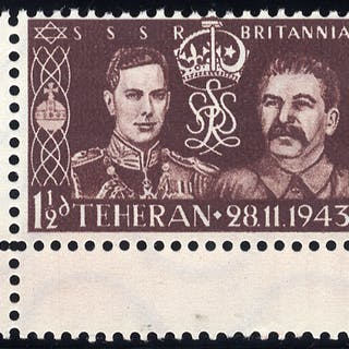 WWII German propaganda forgery of the 1937 Coronation stamp with Stalin