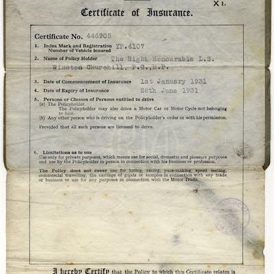 CHURCHILL, WINSTON (British Primeminister & Statesman) motor car insurance