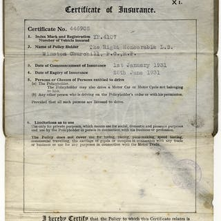 CHURCHILL, WINSTON (British Primeminister & Statesman) motor car insurance
