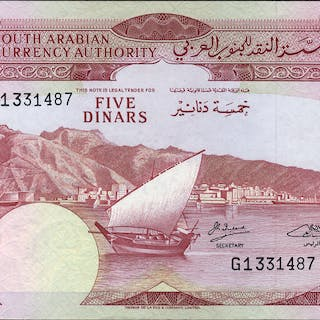 Yemen - South Arabian Currency Authority 5 dinars, issued 1965