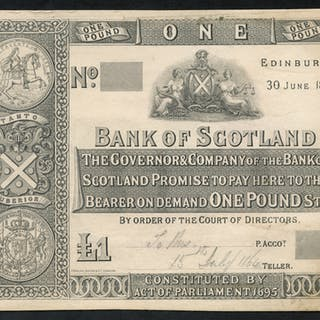 Bank of Scotland £1 Proof made from card, dated 30th June 1864