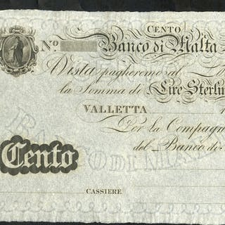 Malta Banco Di Malta 100 lire sterline (£100), unissued dated 18XX