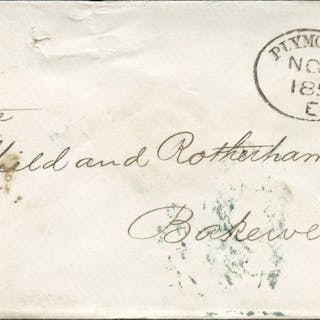 1856 envelope to Bakewell, tied very fine 'Plymouth 620' code 'E'
