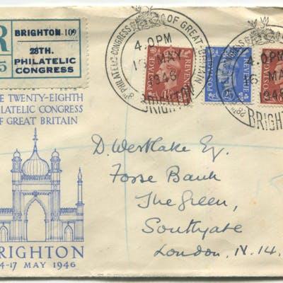 1946 PHILATELIC CONGRESS of Great Britain, Brighton illustrated envelope