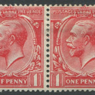 1912 1d carmine-red horizontal Mint pair with Plate flaw 'F' for 'E' in 'ONE'