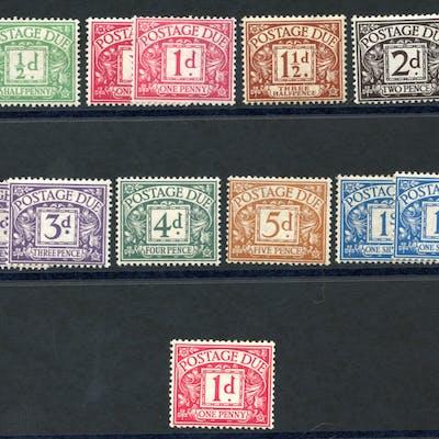 1914-22 Postage Due set, SG.D1/D8 & 1924 1d carmine
