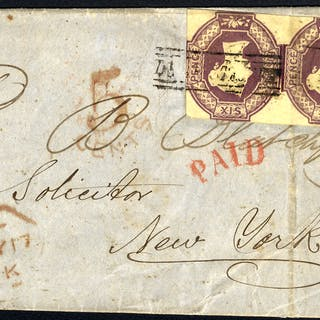 1856 cover from Edinburgh to New York, franked 6d Embossed horizontal pair
