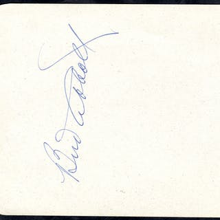 ABBOTT, BUD 1897-1974 (American Actor) signature on a page removed
